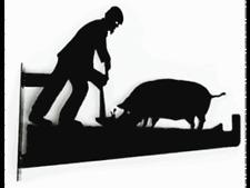 GARDENING GIFT Man and Pig Hanging Basket Birdfeeder Bracket