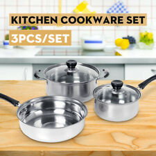 3Pcs/Set Induction Non Stick Stainless Steel Cookware Kitchen Iron,Soup Pot Pan