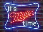 "New It's Miller Time Lite Neon Sign Beer Bar Pub Gift Light 17""x14"""
