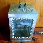 """VTG MEXICAN PUNCH WORK TIN BOX W/GLASS FRONT & REMOVABLE LID FLOWERS 5.5"""" x 4"""""""