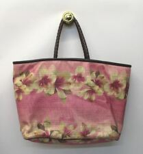 JIGSAW Ladies Pink Floral Print Woven Straw Large Rectangular Tote Shoulder Bag