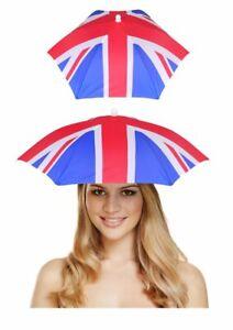 Union Jack Umbrella Adult Hat Unisex Sun Rain Protection Headgear Fancy Dress