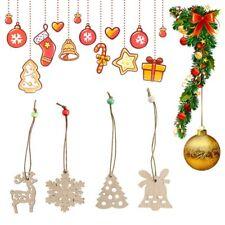 4pcs Wooden Christmas Tree Ornament Wood DIY Crafts Scrapbooking Home Decor New