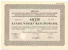 HEAG Hannoversche Eisengiesserei u. Maschinenfabrik AG Anderten Hannover 1933