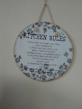 KITCHEN RULES VINTAGE STYLE SHABBY CHIC  WOODEN PLAQUE  RULES 1>>>6