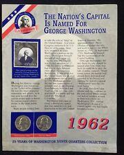 US 1962 Washington Quarter Set Philadelphia & Denver Mint Collector Card