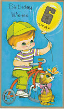 Vintage Happy 6th Birthday 1970's Greeting Card ~ 6 Years Old ~ Cute Tricycle