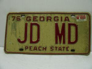 1976 (82) Georgia License Plate   JD MD   Peach State  Vanity    Vintage  a9221