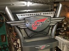 RED WING MOTORCYCLE BOOTS STEEL STORE DISPLAY SHELF ADVERTISING SIGN SHOE
