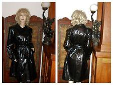 Vtg Drizzle M Shiny Black vinyl raincoat pvc rain jacket PU Vinyl Trench Coat