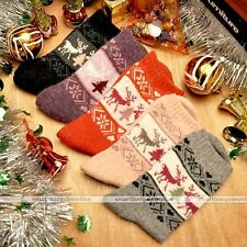 5 Pairs Cute Women Christmas Deer Pattern Soft Warm Wool Winter Stocks New