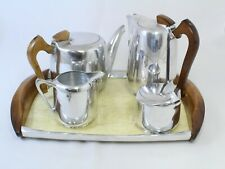 More details for vintage five piece piquot ware tea set with matching tray