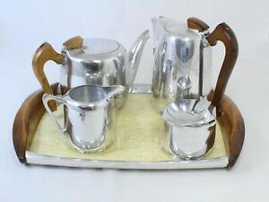 Vintage Five Piece Piquot Ware Tea Set with Matching Tray