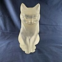 Lalique France Crystal Cat Sitting Glass Sculpture Chat Assis Signed