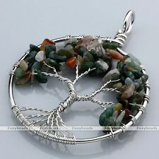 Indian Agate Tree Of Life Gems Chip Bead Healing Chakra Pendant fit Necklace DIY