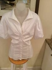 Lafayette 148 Italian Stretch Cotton Puffy short sleeve Blouse Size 14 PRISTINE