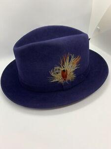 NEW Dobbs Broadstreet Navy Suede Finish Fur Felt Fedora Hat 7 1/4 R