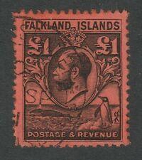 Falkland Islands 1929-37 George V £1 Black/ red SG 126 Fine used.