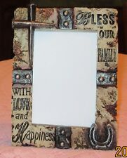 WESTERN  PICTURE FRAME WITH HORSESHOE AND CROSS OF NAILS (HOLDS 4X6 PHOTO