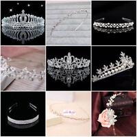 Tiara Haarschmuck Diadem Krone Silber Strass Haarreifen Braut Hochzeit Perlen