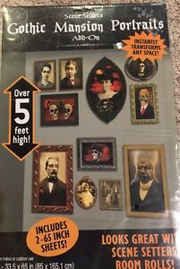 Gothic Mansion Portraits Scene Setters Add-ons Halloween Wall Decoration Kit