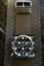 Designer Stamps Diamonds Blaze & Glory Face Dark Grey Leather Strap S.T.A.M.P.S.