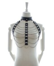 Fetish Sexy Top Bondage Leather Harness W Stainless Steel BDSM Dominatrix