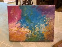 Rainbow Bubbles - Modern Art Original Abstract Acrylic Pour Painting Canvas