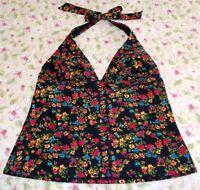Catalina Women's Size L Halterkini Tankini Swim Suit Top Black Floral