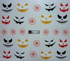NAIL ART ADESIVI AD ACQUA ADESIVI Halloween Spaventosa Zucca FACCE SMALTO GEL (a1-125)