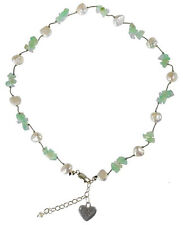 Freshwater Pearl Necklace with Jade Gemstones, Free Shipping