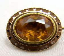 Foil Back Paste Dome Back Brooch circa 1720 Antique Georgian 15 + 18 ct Gold and