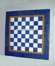Blue Marble Coffee Table Tops Chess Design Inlaid Lapis Arts Kitchen Decor H4701