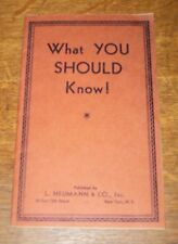WHAT YOU SHOULD KNOW HEUMANN HEALTH MEDICINE DISEASE QUACK REMEDY TAPE WORM VTG