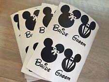 8 x Minnie/Mickey Bride & Groom Wedding Vinyl Wine Glass Decals