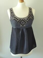 M&S Limited Collection Beaded Front Size 8 Black Grey Sun Top Cotton Silk Blend