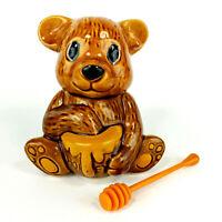 Vintage Honey Pot Bear Jar Hand Painted Ceramic Made in Taiwan