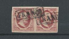 Nederland 2 plt VII 18/19 paartje Willem III 1852  VFU/gebr  CV  180 €