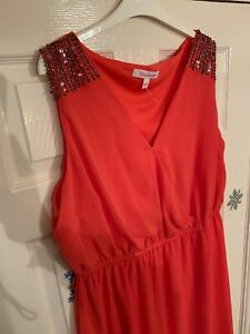 Stunning MARISOTA UK 22 Orange Coral Shift Dress Crossover Worn Once Wedding 20