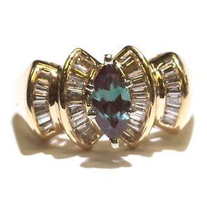 14k yellow gold .72ct diamond Lab Created Alexandrite gemstone ring 6g size 5.25