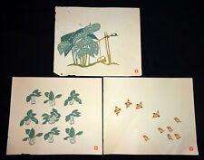 3Pc 1960s Japanese Woodblock Prints Birds etc Inagaki Toshijiro (1902-1963)(Fuj)