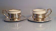 Un par de plata de los sostenedores de taza y platillo junto con inserción Taza marcado Bavaria