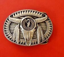 vintage BULL tête laiton massif Award modèle médailles, encre boucle ceinture