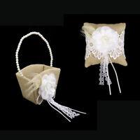 Wedding Flower Girl Basket and Ring Bearer Pillow Set Wedding Accessory