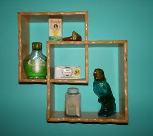 Vintage Wood Interlocking Squares Wall Hanging Shelf shadowbox 1950's kitsch