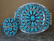 Native American Indian Sleeping Beauty Turquoise Cluster Bracelet Ring Set! Nora