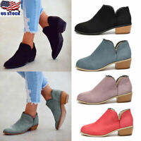 Womens Low Block Heel Ankle Boots Ladies Casual Holiday Party Boots Shoes Size
