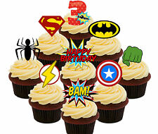 3rd Birthday Superhero Edible Cup Cake Toppers, 36 Stand-up Bun Decorations Boy