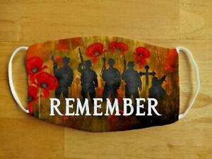 Face Mask VE Day, Poppy Field War Remembrance. Remember Reusable Face Cover UK