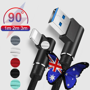AU 1~3M 90° Right  Micro USB Fast Charger Data Cable For Android iPhone Type C